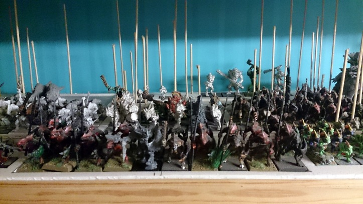 Games Workshop Warhammer Lizardmen army on display board